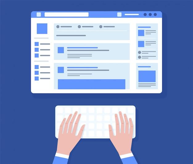 Mann sitzt am tisch und arbeitet mit laptop in sozialen netzwerken mit symbolen der sozialen medien. illustration draufsicht von leuten, die zu hause mit laptop arbeiten und etwas für blog tippen