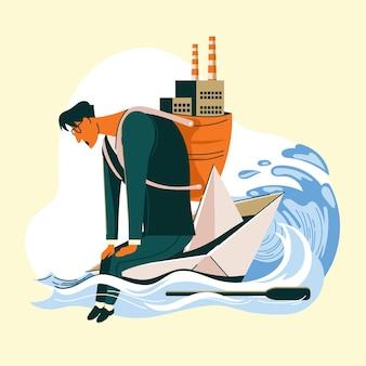 Mann sitzt auf einem papierboot