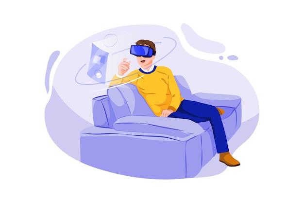 Mann sitzt auf sofa zu hause und trägt virtual reality-headset