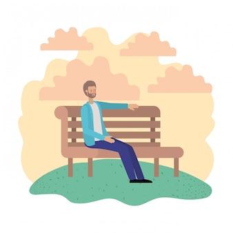 Mann sitzt im parkstuhl avatar charakter