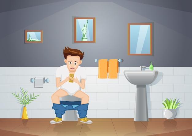 Mann sitzt in der toilette und benutzt smartphone