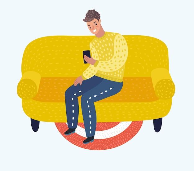 Mann sitzt mit telefon auf der couch