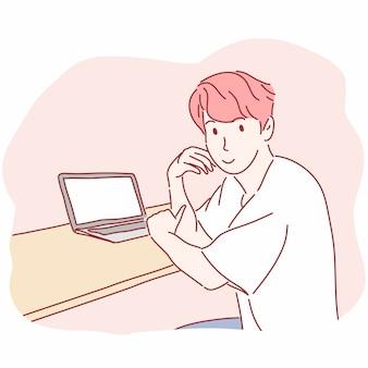 Mann sitzt vor laptop-computer in der hand gezeichnet