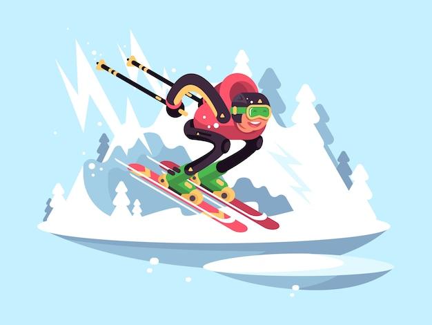 Mann skifahren im winter