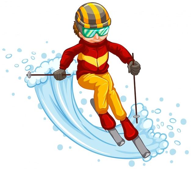 Mann skifahren isoliert konzept