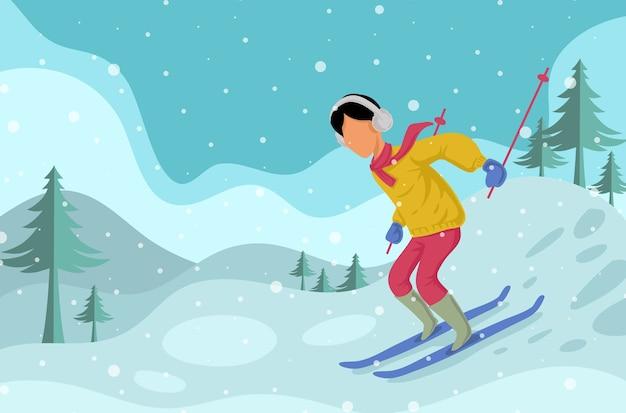 Mann skifahren lokalisiert auf winterhintergrund
