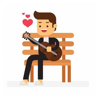 Mann spielt gitarre auf einem stuhl zum valentinstag