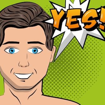 Mann sprechblase ja text pop-art comic