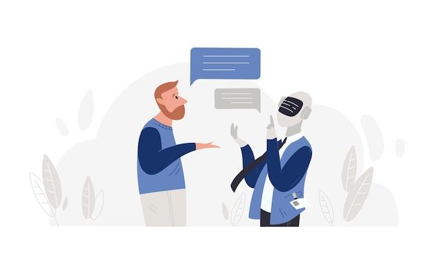 Mann spricht mit roboter