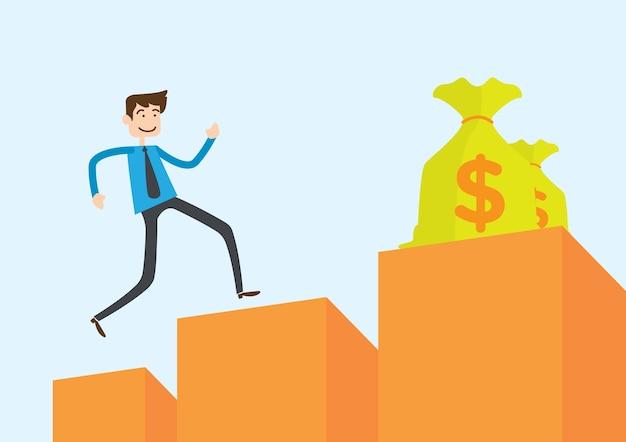 Mann springt auf diagramm versuchen, geld zu erreichen