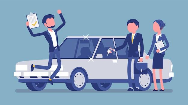 Mann springt vor freude, um ein neues auto zu bekommen