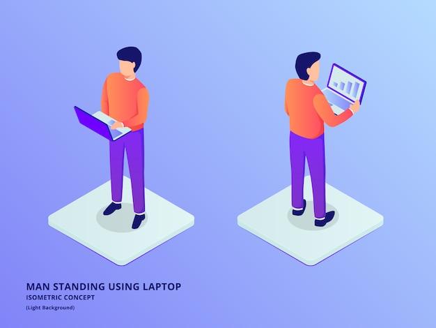 Mann stehend, der laptop oder notizbuch mit isometrischem flachem stil hält