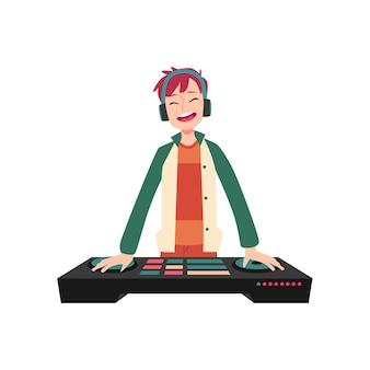 Mann steht in kopfhörern, die hände auf dj-konsolen-cartoon-stil halten
