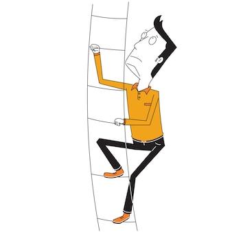 Mann steigt hohe treppe