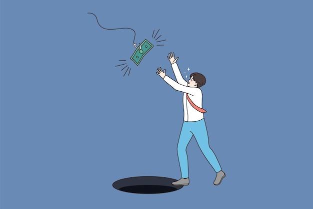 Mann strebt nach leichtem geld, ohne sich der falle bewusst zu sein