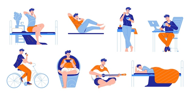 Mann täglicher routinesatz isolierter elemente mit männlichen menschlichen charakteren während der arbeits- und freizeitaktivitäten illustration