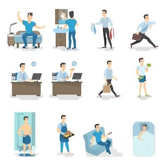 Mann tagesablauf. aufwachen, frühstücken, duschen, zur arbeit gehen und andere aktivitäten. beschäftigter mann lebensstil. illustration