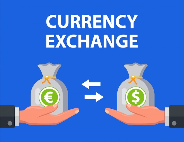 Mann tauscht dollar gegen euro. illustration.