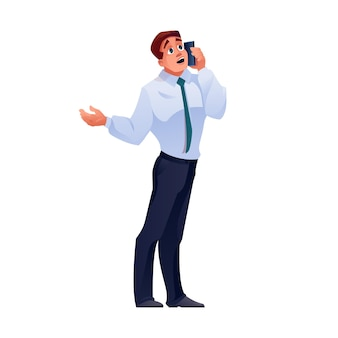 Mann telefoniert geschäftsmann anruf auf handy