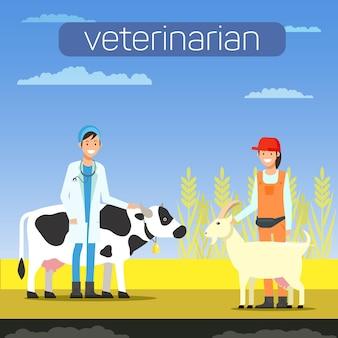Mann-tierarzt mit kuh und frau mit ziege.