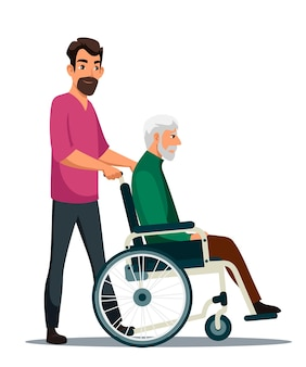 Mann trägt behinderte person im rollstuhl sohn kümmert sich um älteren vater