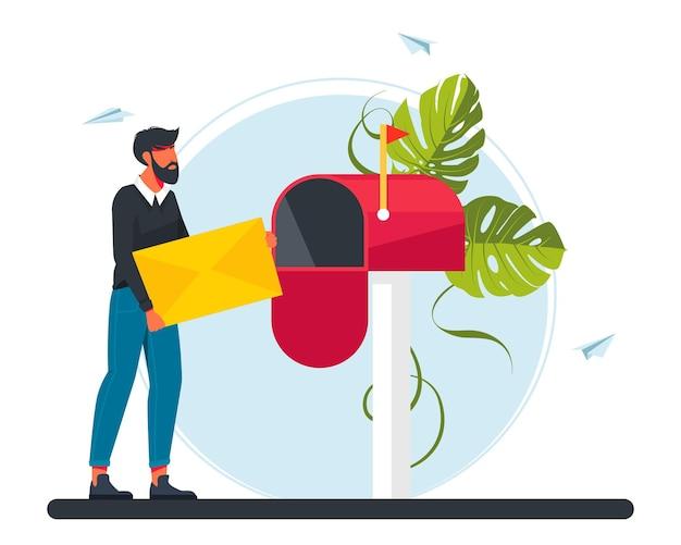 Mann trägt einen brief im briefkasten. e-mail-konzeptillustration, newsletter abonnieren, e-mail-marketing-unternehmen. mädchen trägt einen brief an die post. vektor-illustration