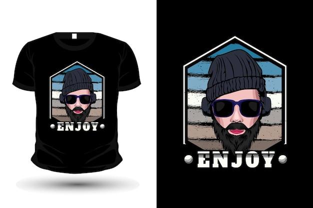Mann trägt kopfhörer illustration merchandise t-shirt design