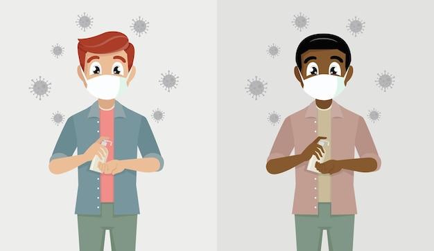 Mann trägt masken verwenden sie alkoholisches antiseptikum, um die hände zu reinigen und keime und covid-19 zu verhindern