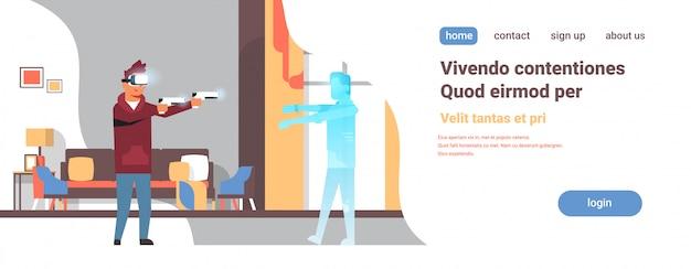 Mann tragen digitale brille halten pistolen schießen virtuelle realität zombie vr vision headset innovation konzept konsole videospiel flach wohnzimmer innenraum horizontal