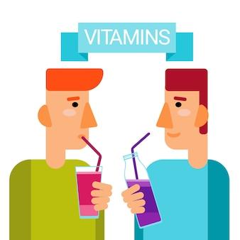 Mann trinken vitamine cocktail