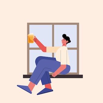 Mann trinkt bier im fenster
