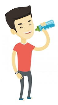 Mann trinkwasser.
