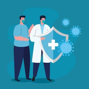 Mann und arzt tragen gesichtsmaske gegen, coronavirus-krankheit, gesundheitsfürsorge und sicherheit