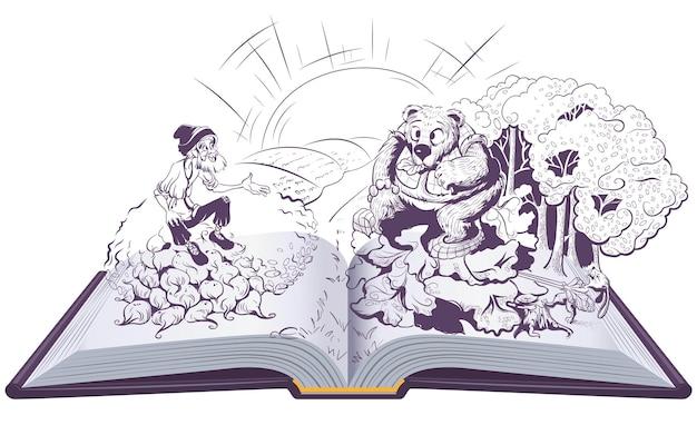Mann und bär russische volksgeschichte offenes buch illustration Premium Vektoren