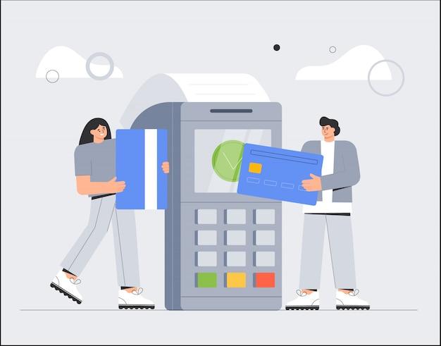 Mann und frau am pos-terminal bestätigen die zahlung per debit-kreditkarte.