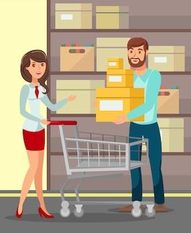 Mann und frau an der shop-flachen vektor-illustration