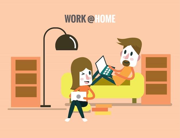 Mann und frau arbeiten und reden im wohnzimmer. freiberuflich und zuhause konzept. flache design-elemente. vektor-illustration