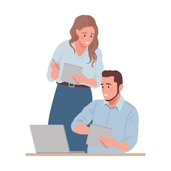 Mann und frau arbeiten zusammen illustration isoliert auf