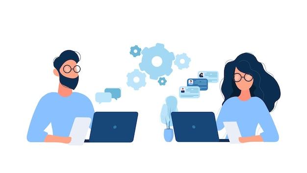 Mann und frau arbeiten zusammen illustration