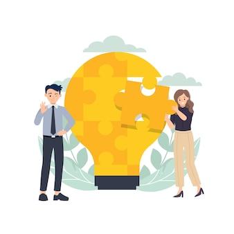 Mann und frau arbeiten zusammen, um rätsel zu lösen. brainstorming-ideenkonzept.