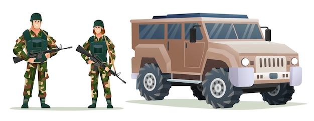 Mann und frau armeesoldaten, die waffengewehre mit militärfahrzeugkarikaturillustration halten