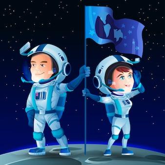 Mann und frau astronauten auf dem mond mit einer flagge. niedliche zeichentrickfiguren des kosmonauten. mondoberfläche und weltraum
