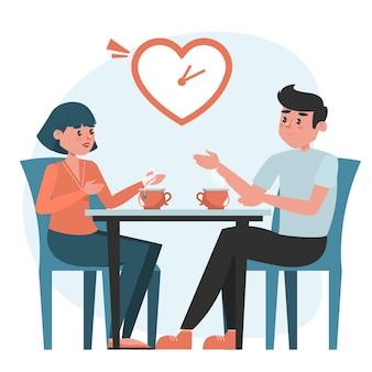 Mann und frau auf einem speed-dating