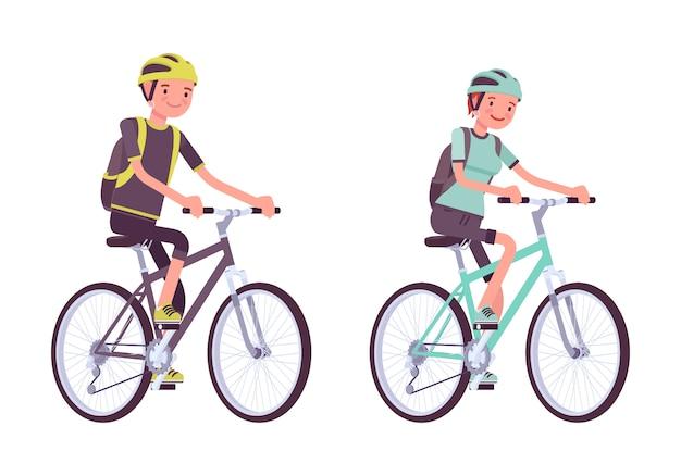 Mann und frau auf sportbikes Premium Vektoren