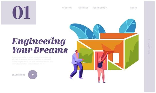 Mann und frau baumeister bau home landing page. vorarbeiter tragen sie neues teilematerial, um ein gebäude zu bauen. prozessinstallationsdach im haus für website oder webseite flache cartoon-vektor-illustration