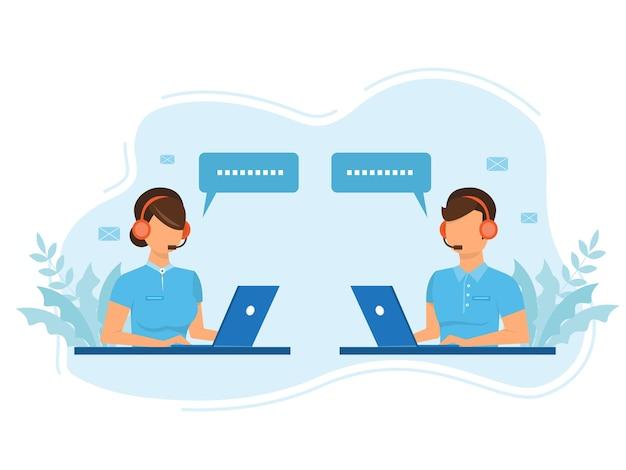 Mann und frau bediener im headset beraten kunden flat style design. call center mitarbeiter helfen kunden. call center, hotline wohnung