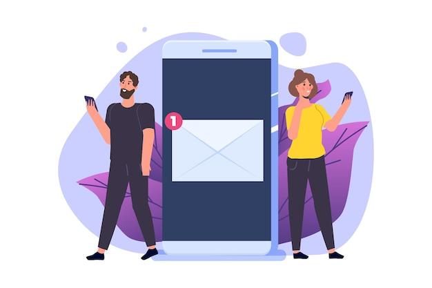 Mann und frau bekommen post vom smartphone. illustration