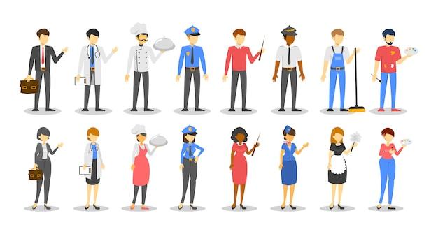 Mann und frau beruf eingestellt. arbeiter in verschiedenen uniformsammlungen. koch, polizist, manager und arzt. gruppe männlicher charaktere. sammlung von mitarbeitern.