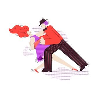 Mann und frau cartoon-figuren tanzen tango flache vektor-illustration isoliert
