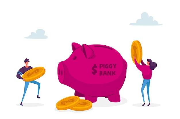 Mann und frau charaktere legen goldene dollar-münzen in riesiges sparschwein.